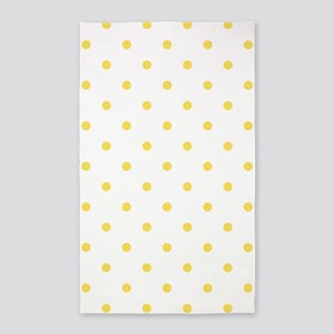 Yellow, Canary: Polka Dots Pattern (Small Area Rug