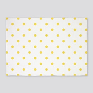 Yellow, Canary: Polka Dots Pattern 5'x7'Area Rug
