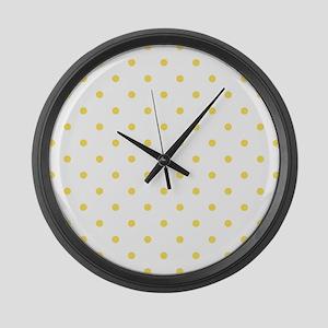 Yellow, Canary: Polka Dots Patter Large Wall Clock
