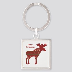 Fun Christmas Moose In Sweater Design Keychains