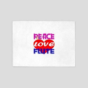 Peace Love Flute 5'x7'Area Rug