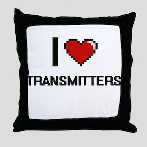 I love Transmitters digital design Throw Pillow