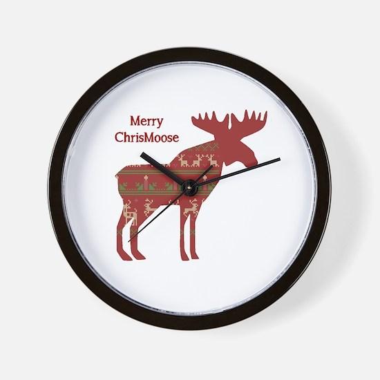 Fun Christmas Moose In Sweater Design Wall Clock