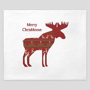 Fun Christmas Moose In Sweater Design King Duvet