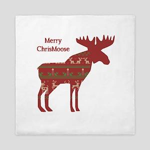 Fun Christmas Moose In Sweater Design Queen Duvet