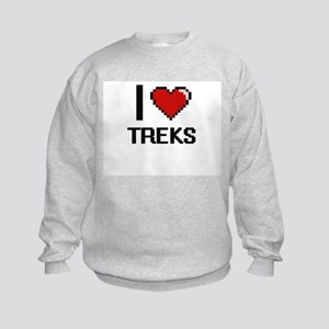 I love Treks digital design Kids Sweatshirt