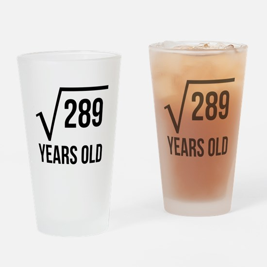 17 Years Old Square Root Drinking Glass