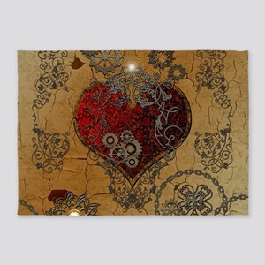 Steampunk, awesome heart 5'x7'Area Rug