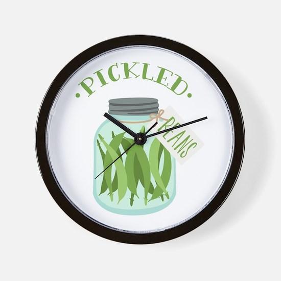Pickled Green Beans Jar Wall Clock