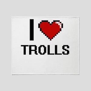 I love Trolls digital design Throw Blanket