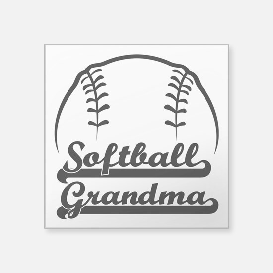 "Softball Grandma Square Sticker 3"" X 3"""