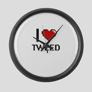 I love Tweed digital design Large Wall Clock
