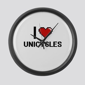 I love Unicycles digital design Large Wall Clock
