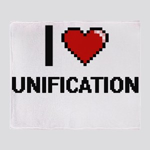 I love Unification digital design Throw Blanket