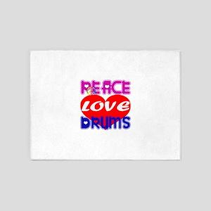 Peace Love Drums 5'x7'Area Rug