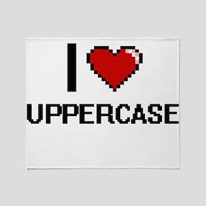 I love Uppercase digital design Throw Blanket