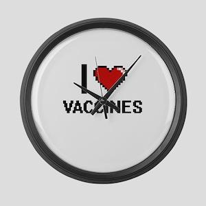 I love Vaccines digital design Large Wall Clock