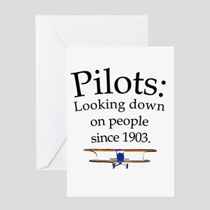 Pilots: Looking down on peopl Greeting Card