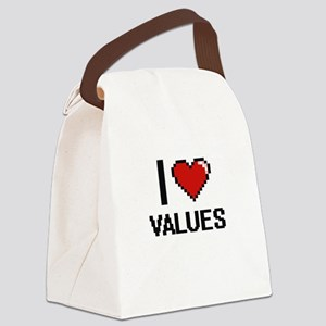 I love Values digital design Canvas Lunch Bag