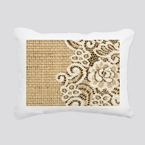 vintage rustic burlap an Rectangular Canvas Pillow