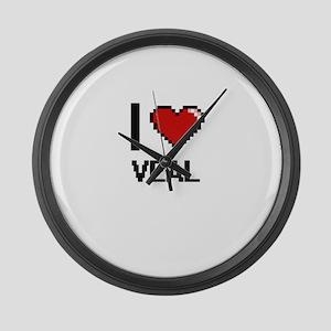 I love Veal digital design Large Wall Clock