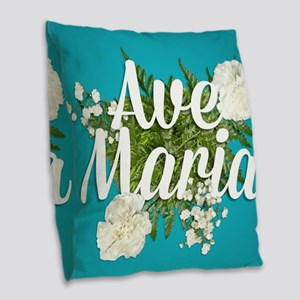 Ave Maria Burlap Throw Pillow