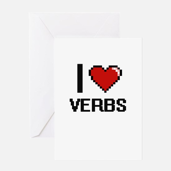 I love Verbs digital design Greeting Cards
