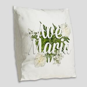 Ave Maria Burlap Throw Pillow