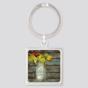 country mason jar flower  Square Keychain