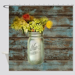 country mason jar flower  Shower Curtain