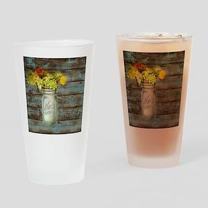 country mason jar flower  Drinking Glass
