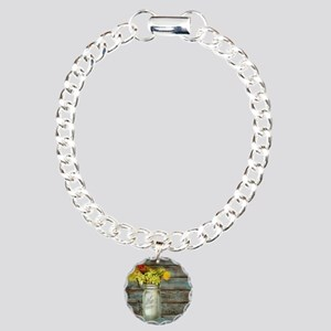 country mason jar flower Charm Bracelet, One Charm