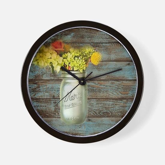 country mason jar flower  Wall Clock