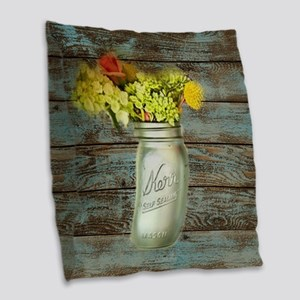 country mason jar flower  Burlap Throw Pillow