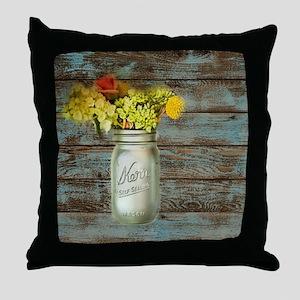 country mason jar flower  Throw Pillow