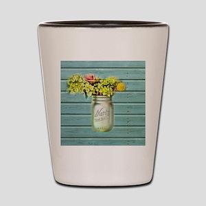 country mason jar flower  Shot Glass