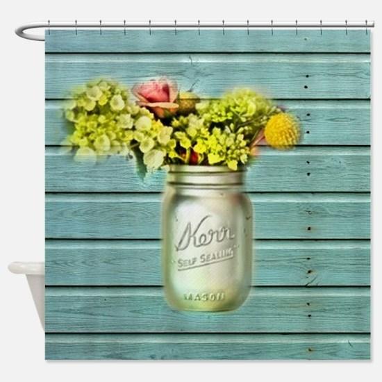 country mason jar flower  Shower Curtain