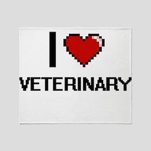 I love Veterinary digital design Throw Blanket