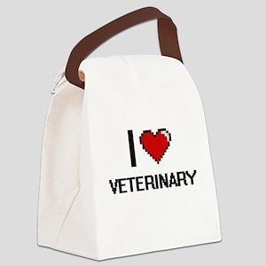 I love Veterinary digital design Canvas Lunch Bag