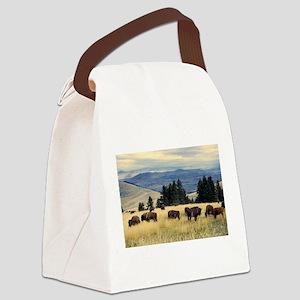 National Parks Bison Herd Canvas Lunch Bag