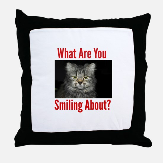 What Are You Smiling About Throw Pillow