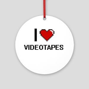 I love Videotapes digital design Round Ornament