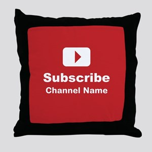 Custom channel subscribe Throw Pillow