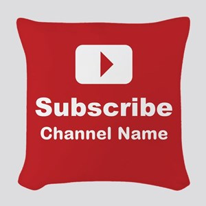 Custom channel subscribe Woven Throw Pillow