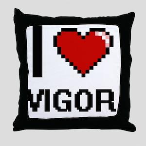 I love Vigor digital design Throw Pillow