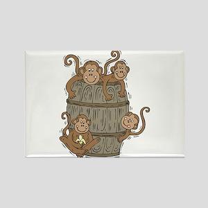 Cute Barrel of Monkeys Rectangle Magnet