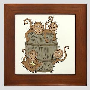 Cute Barrel of Monkeys Framed Tile