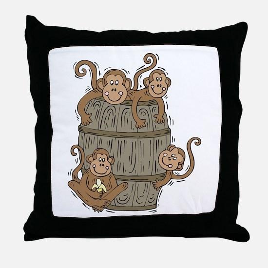 Cute Barrel of Monkeys Throw Pillow