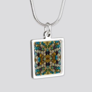 Beaded Pearl Essence  Silver Square Necklace