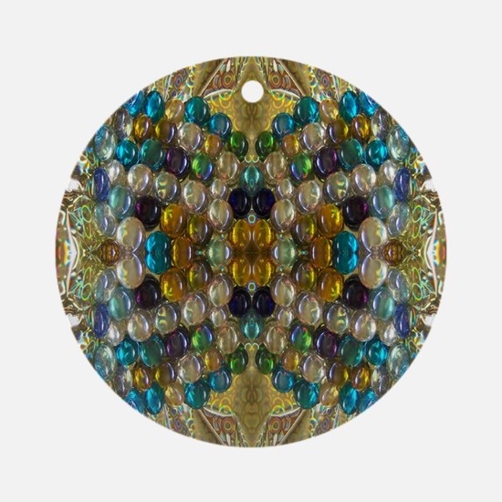 Beaded Pearl Essence  Round Ornament